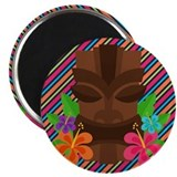 Tiki Mask on Stripes Magnet
