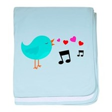 Singing Blue Bird baby blanket