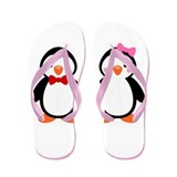 Cute Penguin Couple Flip Flops