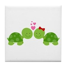 Turtles in Love Tile Coaster