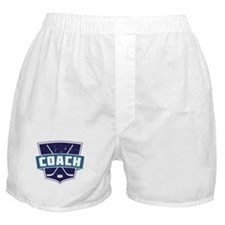 Hockey Coach Shield (blue) Boxer Shorts