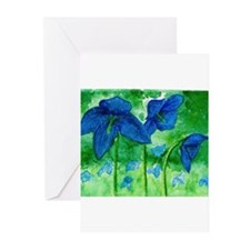 Blue Poppies watercolor by April Dawn Greeting Car