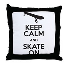 keep calm and skate on Throw Pillow