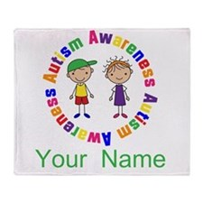 Personalized Autism Stick Figure Throw Blanket