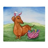 Easter Wiener Dog Throw Blanket
