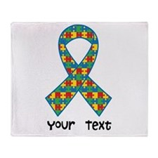 Personalized Autism Puzzle Ribbon Throw Blanket