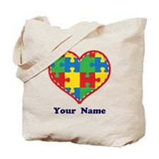 Personalized Autism Puzzle Heart Tote Bag