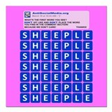 "Anti Social Media Word Find Square Car Magnet 3"" x"
