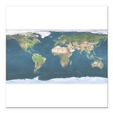 "World Map Square Car Magnet 3"" x 3"""