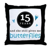 15 Year Anniversary Butterfly Throw Pillow