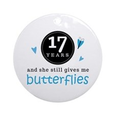 17 Year Anniversary Butterfly Ornament (Round)