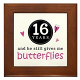 16th Anniversary Butterflies Framed Tile