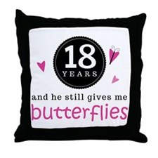18th Anniversary Butterflies Throw Pillow