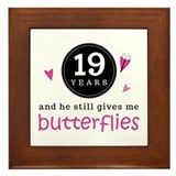 19th Anniversary Butterflies Framed Tile