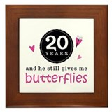 20th Anniversary Butterflies Framed Tile