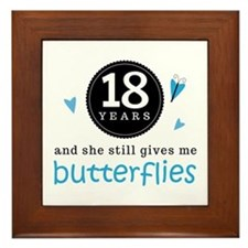 18 Year Anniversary Butterfly Framed Tile