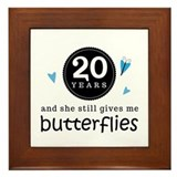 20 Year Anniversary Butterfly Framed Tile