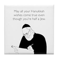 Half Jew White Tile Coaster