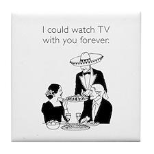 Watch TV Forever White Tile Coaster
