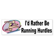 Rather Be Running Hurdles Vinyl Bumper Bumper Sticker