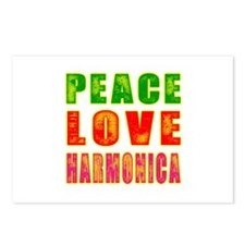 Peace Love Harmonica Postcards (Package of 8)