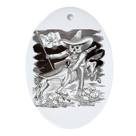 Calavera Zapatista Oval Ornament