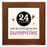 24th Anniversary Butterflies Framed Tile