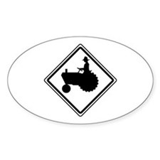 Tractor Crossing Ahead Oval Decal