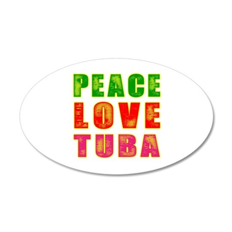 Peace Love Tuba 20x12 Oval Wall Decal