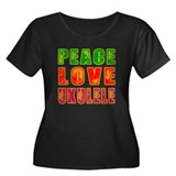 Peace Love Ukulele Women's Plus Size Scoop Neck Da