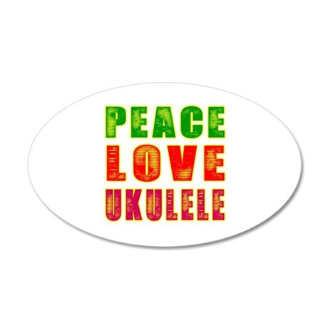 Peace Love Ukulele 35x21 Oval Wall Decal