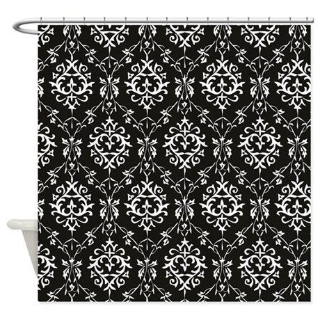 Black cream damask shower curtain by dpeagreendesigns for Black and cream bathroom accessories