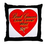 Beat Breast Cancer Live! Love Throw Pillow