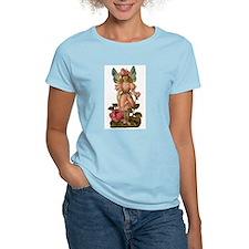 Victorian Flower Fairy Pink Rose T-Shirt