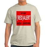 RED ALERT STOP HIV-AIDS Ash Grey T-Shirt