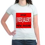 RED ALERT STOP HIV-AIDS Jr. Ringer T-Shirt