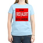 RED ALERT STOP HIV-AIDS Women's Pink T-Shirt