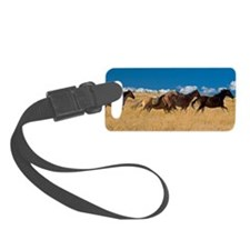 Quarter horses running across fi Luggage Tag