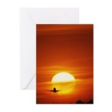 Passenger jet against re Greeting Cards (Pk of 10)