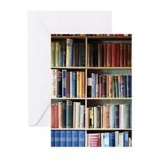 Various books on shelves Greeting Cards (Pk of 20)