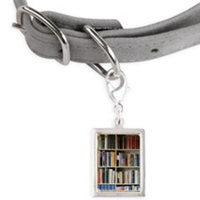 Various books on shelves Small Portrait Pet Tag