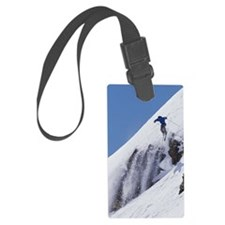 Man downhill skiing Large Luggage Tag