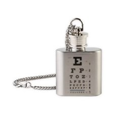 Blurred sight test chart with one l Flask Necklace