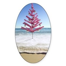 Artificial christmas tree on beach Decal
