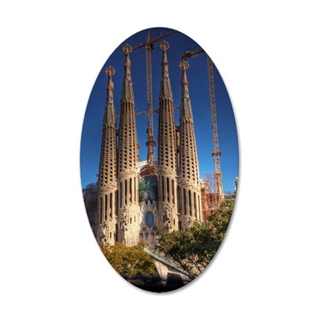 Barcelona sagrada familia 35x21 Oval Wall Decal