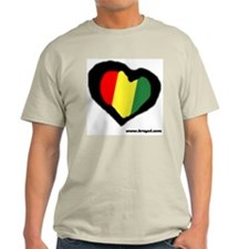Rasta Heart Ash Grey T-Shirt