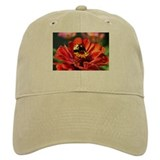 Bee on Red Flower Baseball Cap