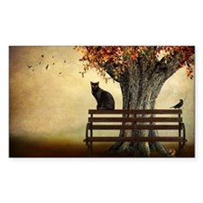 cat sitting on top of bench bo Decal
