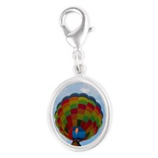 Hot air balloon Silver Oval Charm