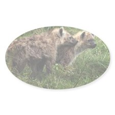 Two hyena pups in green grass Decal